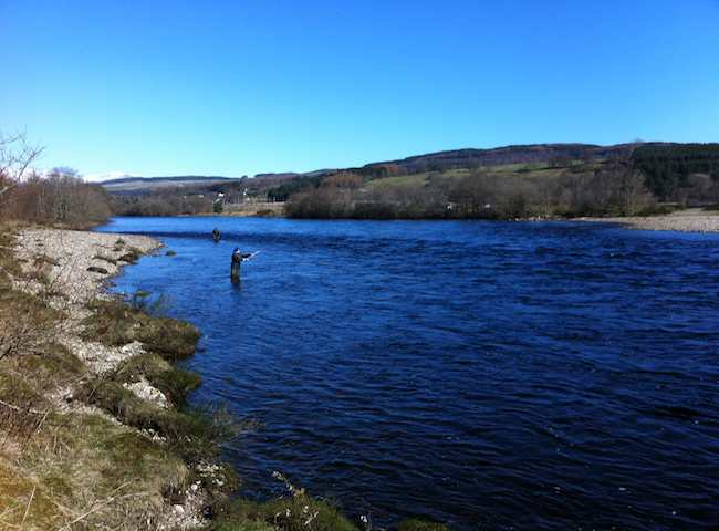 Catching Salmon On The River Tay In Scotland
